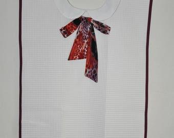 Adult bib for women fur printed Ribbon