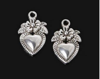 SET OF 5 CHARMS COLOR HEART CHARM SILVER