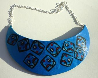 Blue and black bib Necklace: miro painting
