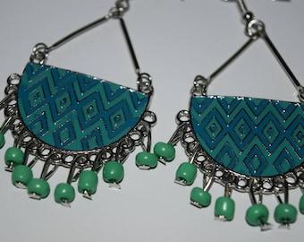 Green beads chandelier earrings