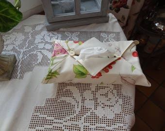 Cover of box with handkerchiefs in printed fabric flowers and red berries