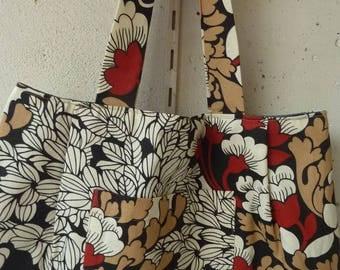 linen flower pattern cotton tote bag