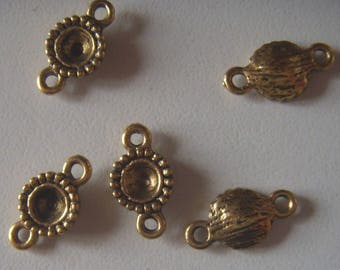 Gold Flower set of 4 bead connectors