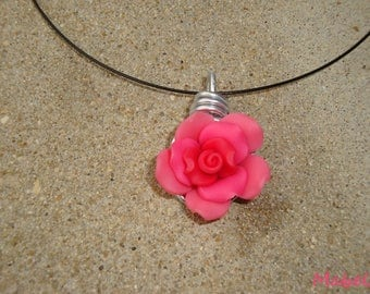 Coral pink flower set, necklace and coral rose ring, polymer clay and aluminum wire, wedding