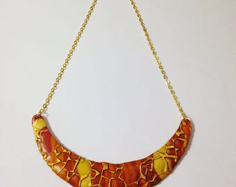 """Bib fimo """"Brown and beige"""" on gold chain"""