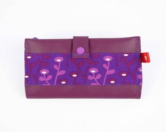 Plum/Eggplant leather checkbook wallet