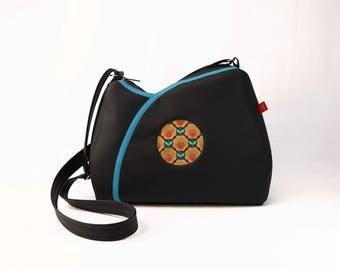 """""""Tulip"""" black and orange flowers velvet shoulder bag"""