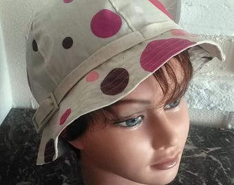 Coated with polka dots cotton rain hat