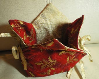Purse, pouch in red and gold fabric