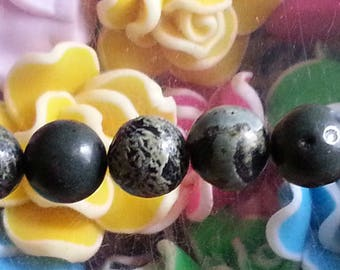 1 Pearl, stone lace Green 8mm, hole 1 mm