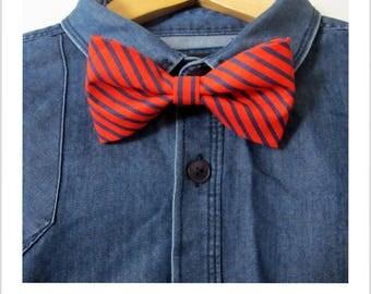 Red bow tie vintage Navy blue stripe