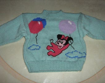 Green baby sweater hand knitted jacquard mouse with balloons
