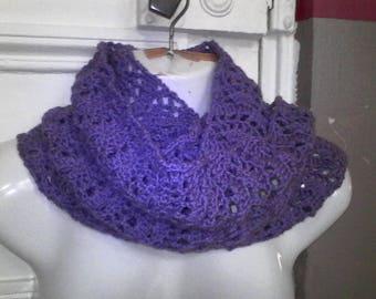 Handmade crochet purple Snood