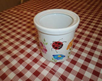 kitchenware porcelain pot pattern hand painted Ladybug garden