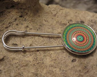 """""""Collection psychedelic"""" safety pin brooch"""