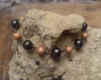 "Bracelet ""spring lightness"" caramel and charcoal"