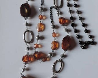 Two rows, amber, black, silver necklace