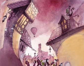 Pink Purple print illustration - A4 size - travel in the city