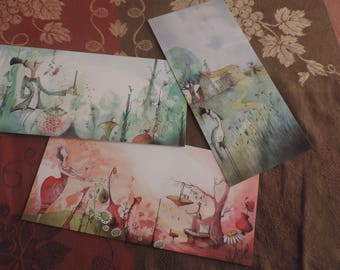 Trio of long postcards - images from my youth books illustrated