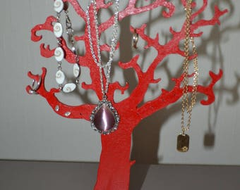 Painted and varnished wooden jewelry tree
