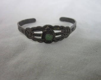Antique Native American Sterling Silver & Turquoise Child's Cuff Bracelet