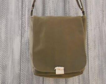 Adjustable khaki canvas shoulder bag