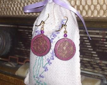 Earrings made of Purpleheart wood