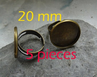 Bronze 5 ring adjustable to support glass cabochon 20 mm