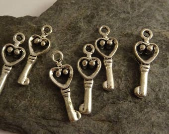 6 pcs 8mm key to lock romantic vintageargente