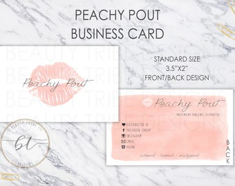 Lipsense Business Cards Peachy Pout - lipsense distributor - makeup artist
