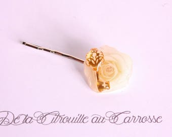 Golden key beige flower hair clip