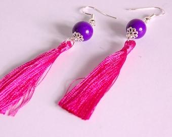 Fuchsia, purple bead tassel earrings