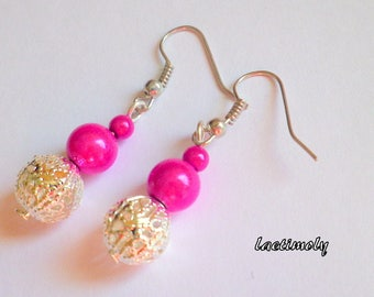 fuchsia and Silver earrings