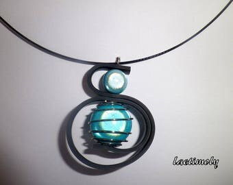 Necklace blue turquoise spiral infernal