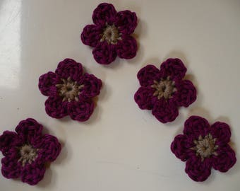 set of 5 crochet applique flower crochet applique flowers