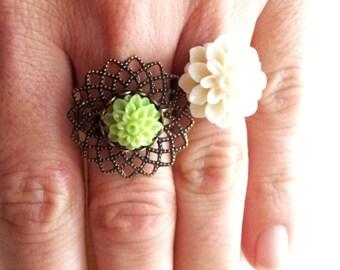 """Pistachio filigree"" ring: bronze, green dahlia flower"
