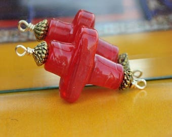 Cross pendant in Red Indian artisan lampwork glass beads