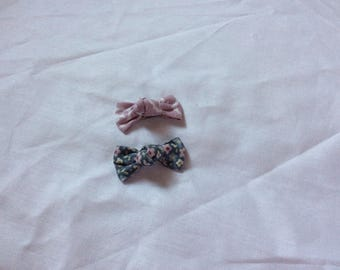 Purple and blue flower bow hair clips
