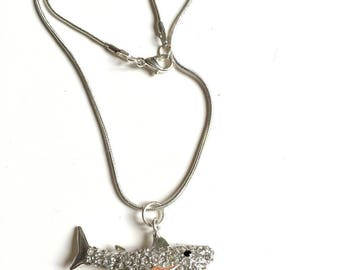 Rhinestone and silver shark necklace