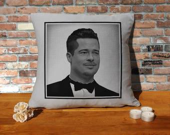 Brad Pitt Pillow Cushion - 16x16in - Grey