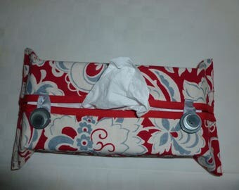 Tissue box cover. Red flower print fabric case