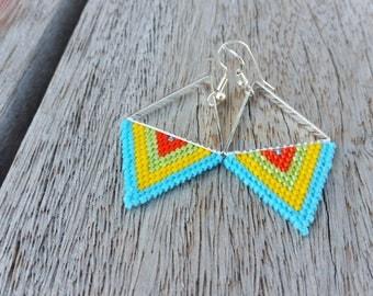 Woven beaded geometric earrings