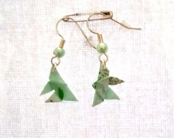 Green origami butterfly earrings
