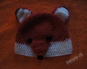 Mixed Fox Hat handmade crochet with acrylic yarn