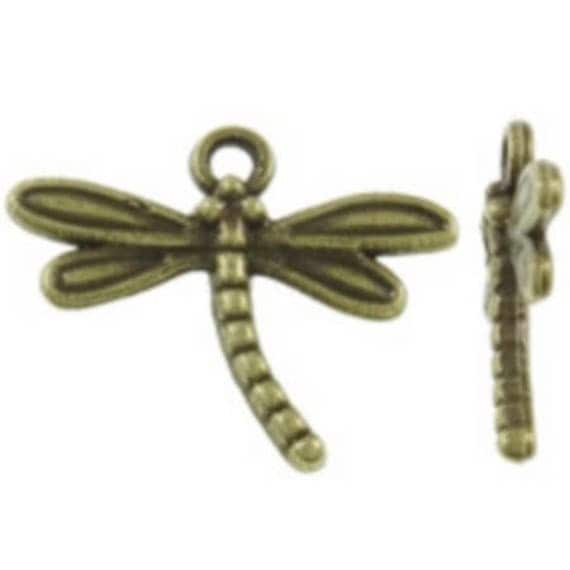 "Set of 5 ""bronze tone"" Dragonfly charm size 13 x 31 mm"