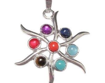 2 silver plated - 7 chakras Sun pendant