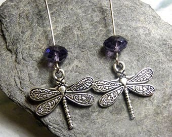 .long Dragonfly with Amethyst glass stone earrings