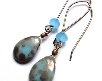 .long drops earrings on sleepers brass 2 turquoise