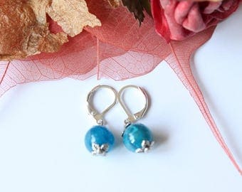 earring blue stone agate and silver plated