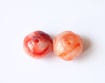 Natural pink marbled resin 19 * 13 mm, set of 2 beads